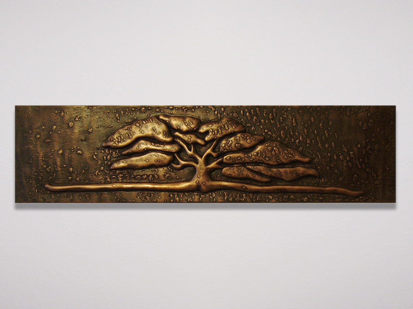 "Arts & Crafts Tree Casting Arts & Crafts tree cast in copper powder from hand carving by Tom Lederer. Also available in bronze with or without frames, to be used as a panel for cabinets, mantels, etc. 9""h × 29""w"