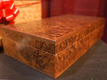 "Book matched Walnut Burl Box Walnut Burl veneer with inlaid Walnut. Solid brass stop hinges. 4.5""h × 18""w × 10""d"