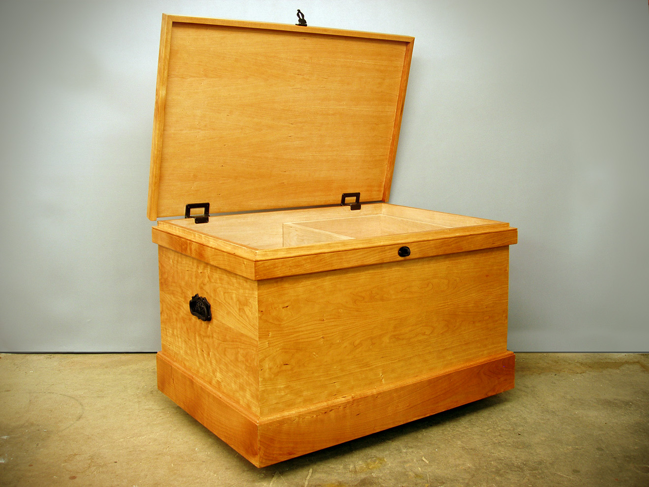 """Cherry Blanket Chest Cherry with cast iron handles and hasp. 22""""h × 36""""w × 20""""w"""