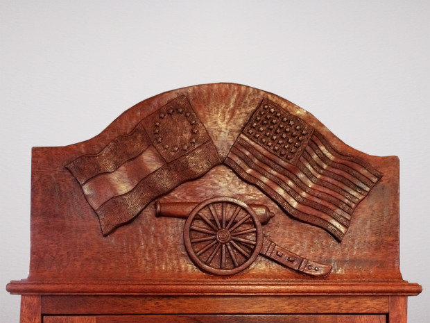 """Civil War Documents and Artifact Cabinet Solid Genuine Mahogany. Solid brass hardware. Hand-carved panel, hand-cut half-blind dovetail joints. 33""""h × 17.5""""w × 10.5""""d"""