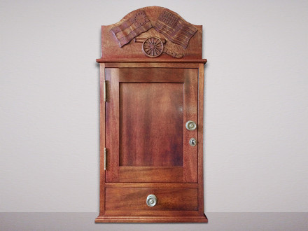 "Civil War Documents and Artifact Cabinet Solid Genuine Mahogany. Solid brass hardware. Hand-carved panel, hand-cut half-blind dovetail joints. 33""h × 17.5""w × 10.5""d"