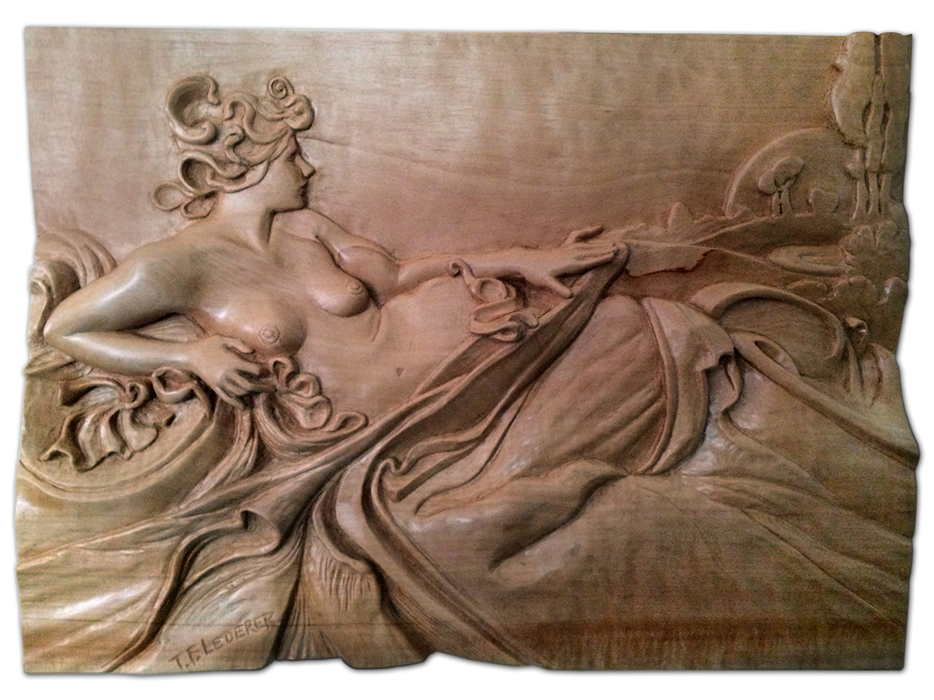 "Dawn (inspired by Alphonse Mucha's Dawn) Hand-carved Swiss Pear 9""h × 12""h"