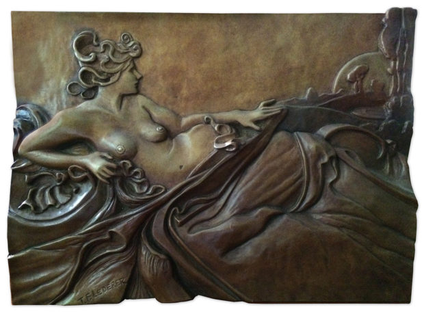 "Dawn (inspired by Alphonse Mucha's Dawn) Cast Bronze 9""h × 12""h"