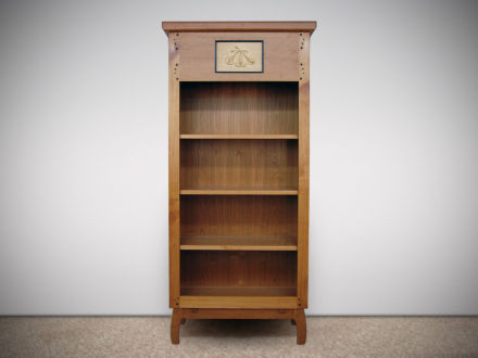 """Ginkgo Cabinet Mortise and tenon construction, cherry cabinet with Lindenwood carving, ebony pegs & moldings. 72""""h × 30""""w × 12""""d"""