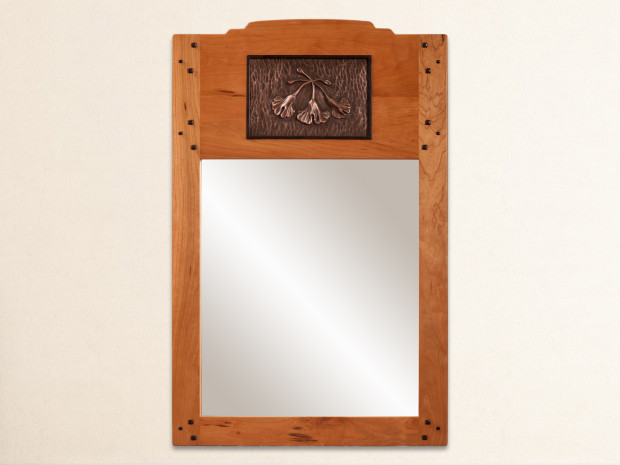 "Cherry frame with Ebony pegs, Gingko casting in copper powder (also available in bronze and silver powder), original carving, mortise & tenon joints. 36 ¼""h × 23 ¾""w"