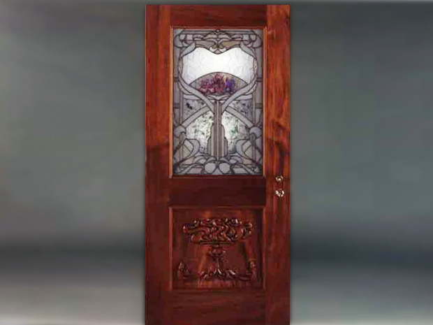 "Honduras Mahogany Door Solid Honduras Mahogany, hand-carved panel. Mortise and Tenon construction. Varnish finish. Custom stained glass with etched and hand painted Irises by Hector Studio of Frenchtown, NJ. 80""h × 36""w × 1 ¾""d"