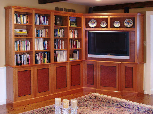 """Redwood Burl Entertainment Center Cherry cabinets, base, and crown moldings. Sequenced matched Redwood Burl Panels, Ebony inlaid moldings Touch latch doors Left side, 82""""h × 80""""w × 12""""d Right side, 82""""h × 55""""w × 20""""d"""
