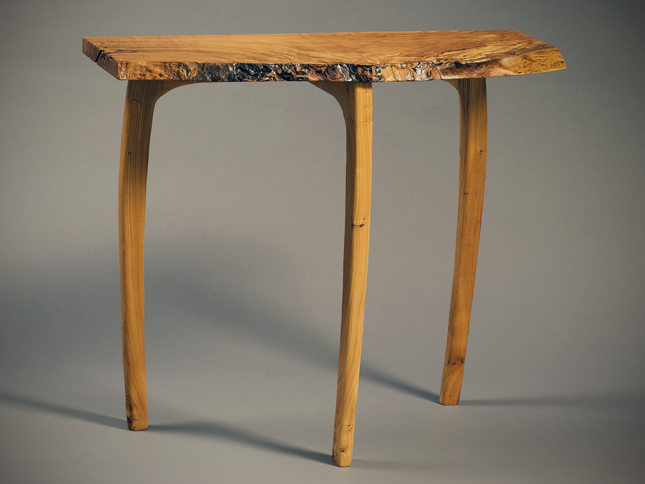 "Spalted Butternut Table Spalted Butternut free form top with sculpted Elm legs & Beech apron, also available in other woods (dependent on availability), mortise & tenon. 32 ½""h × 37 ¼""w × 13½""d"