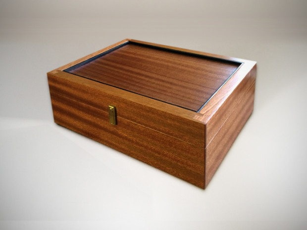 "Sapele Box Half blind rabbet and dado joinery Brusso stop hinges and clasp (mortised) 5h"" × 11""w × 9""d"