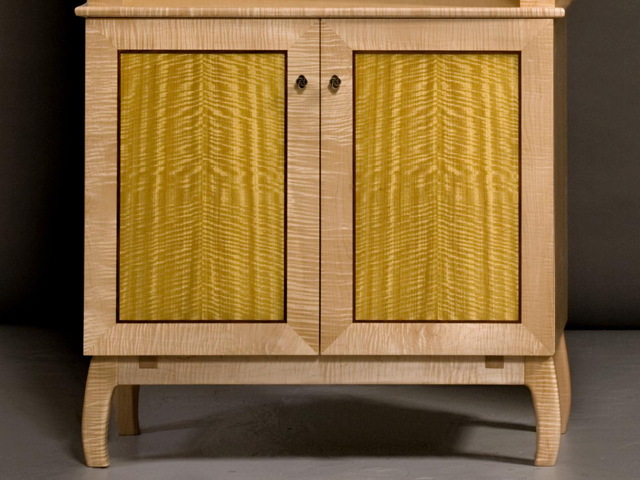 Twin Bookcase, bottom door detail, by Tom Lederer