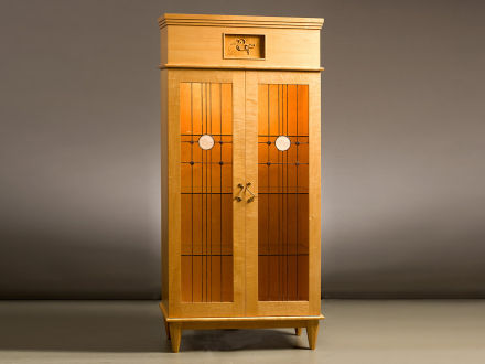 """Water Lily Cabinet Maple with Birds-Eye Maple doors & moldings, tapered octagonal legs, mortise & tenon, handmade leaded glass with etched rondels by Hector Studio of Frenchtown, NJ. 81""""h ×36""""w × 18""""d"""