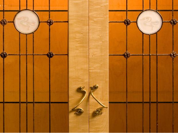 Water Lily Cabinet, door pull detail, by Tom Lederer