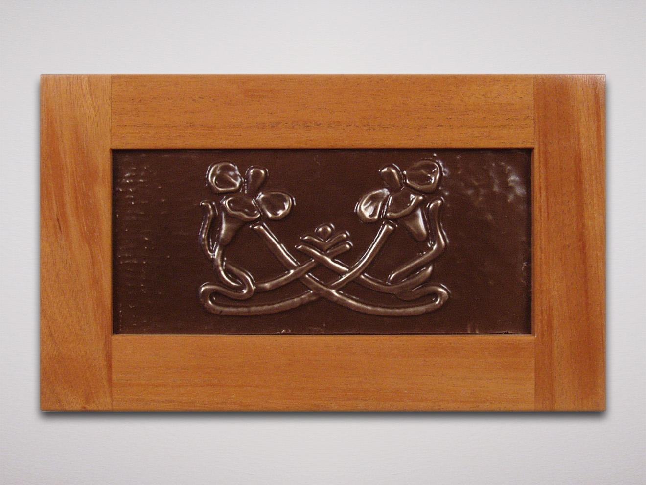 """Zinnias Casting Cold cast bronze powder from original carving. 6""""h × 11""""w (casting) 10.5""""h × 15.5""""w (with mahogany frame)"""